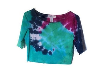 0844dfae Vintage Tie dye spiral crop Tee small. rainbow retro tie dye crop top 80s  90s t shirt, Festival clothing