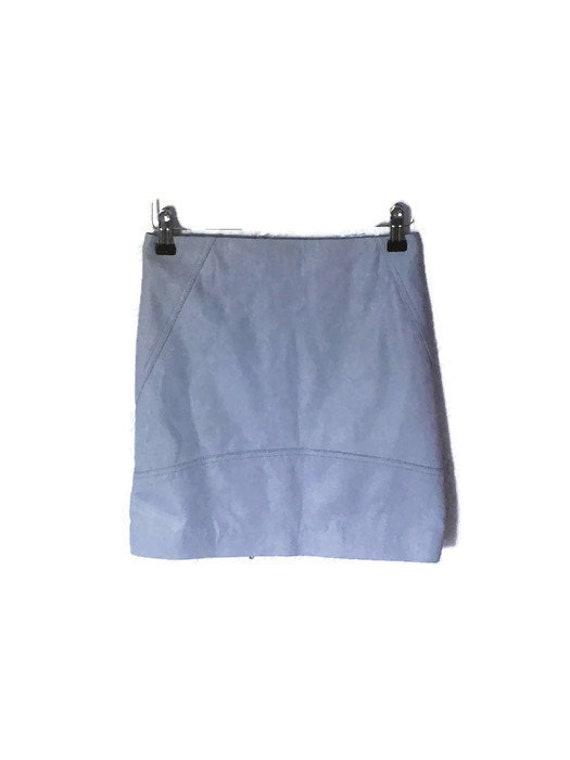 Blue Leather high waist mini skirt small. High wai