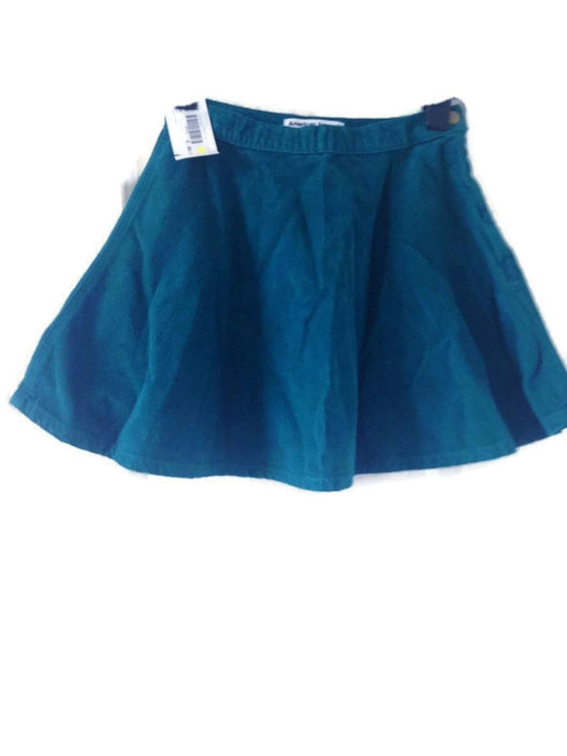f0802d1af62 Teal Corduroy High Waist mini Skirt small. boho circle skirt