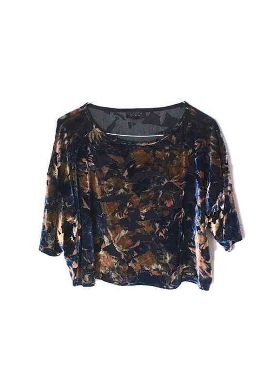 Navy Floral Velvet Burnout Top small- medium 80's