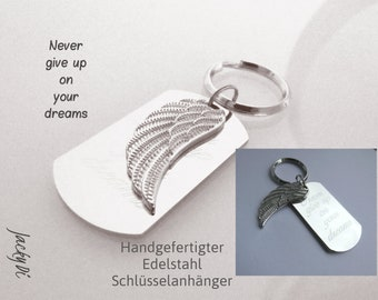 Engraving Keyring Angel Wings, Never give up on your dreams, Never Give Your Dreams on, Talisman, Car Key Pob