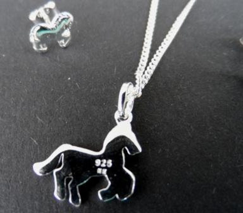 necklace with horse gift for girls girls jewelry Set 925 silver necklace horse and stud horse children/'s necklace horse