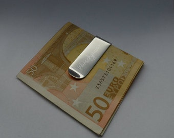 Personalizable banknote clip made of stainless steel, engraving money clip, gift for man, birthday gifts for men