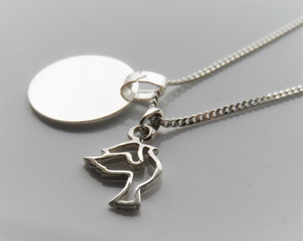 Personalizable silver necklace dove, necklace with TAUBE, jewelry for baptism, birth, communion