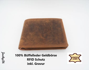 Personalizable men's purse buffalo leather, RFID purse incl. engraving, personal gift for men
