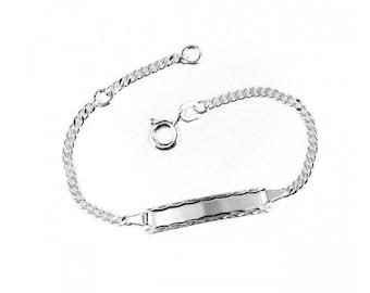 Baby bracelet with engraving, ID bracelet, silver bracelet for baptism, birth, engraving, armored bracelet for child, name bracelet
