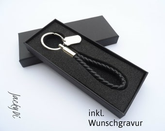 Customizable leather keychain with stainless steel pendant, personal guest gift, gift for men and women, hotel key