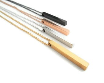 Personalizable stainless steel bar necklace, engraved necklace, trendy gift for women and men, name chain bar chain