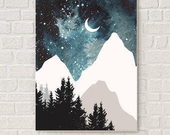 Mountain wall art, art prints, watercolor, posters, blue art, nature prints, modern print, home wall decor, apartment wall art, forest art
