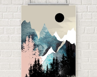 Mountain wall art, art prints, nature prints, forest print, wall art, watercolor, posters, home wall decor, apartment art, wall decor