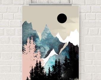 Mountain wall art, art print, forest watercolor poster, nature print, modern blue print, home wall decor, apartment wall art, poster, gift