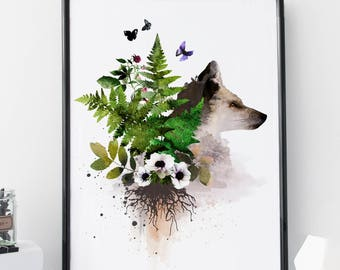 Fox art print, forest wall art, fern watercolor, animal art, fern print, home wall decor, apartment wall art, poster, nursery, botanicals,