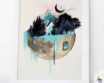 Moon wall art, quirky art prints, watercolor print, art, nature print, poster, home wall decor, apartment wall art, blue decor, forest print