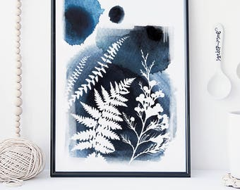 Botanical watercolor wall art, fern leaf art print, poster, nature print, modern blue print, home wall decor, apartment wall art, hanging