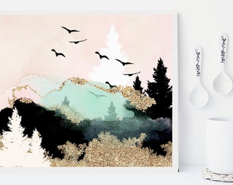 Mountain print, art prints, wall art, nature prints, landscape, watercolor poster, gold foil, home wall decor, apartment art, pink, modern