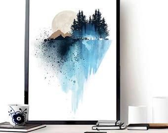 Blue mountain wall art, art print, watercolor poster, nature print, modern blue print, home wall decor, apartment wall art, poster, gift
