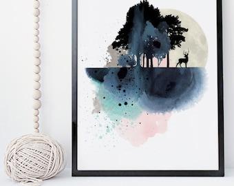 Landscape art print, mountain wall art, watercolor print, nature prints, poster, wall decor, art prints, home wall decor, apartment wall art