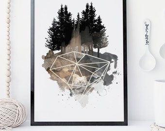 Nature watercolor wall art, forest art print, geometric modern poster, nature wall art print, home decor, apartment decor, gift , crystal