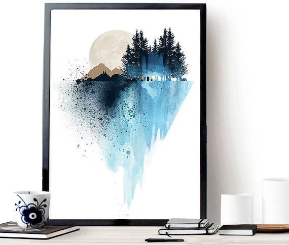 Blue Mountain Wall Art, Art Print, Watercolor Poster, Nature Print, Modern Blue Print, Home Wall Decor, Apartment Wall Art, Poster, Gift by Etsy