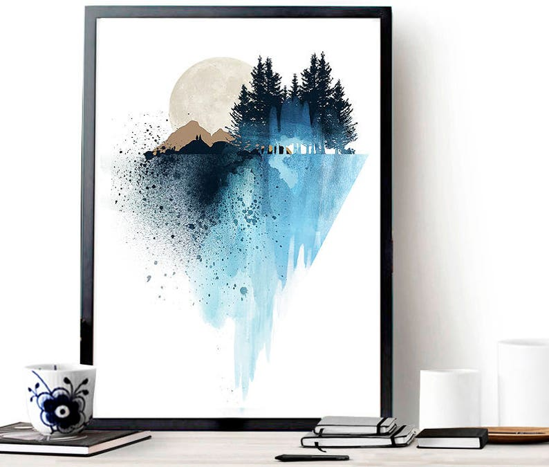 Blue mountain wall art art prints watercolor poster nature image 0