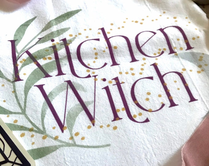 Featured listing image: Kitchen Witch Metaphysical Halloween Kitchen Tea Towel