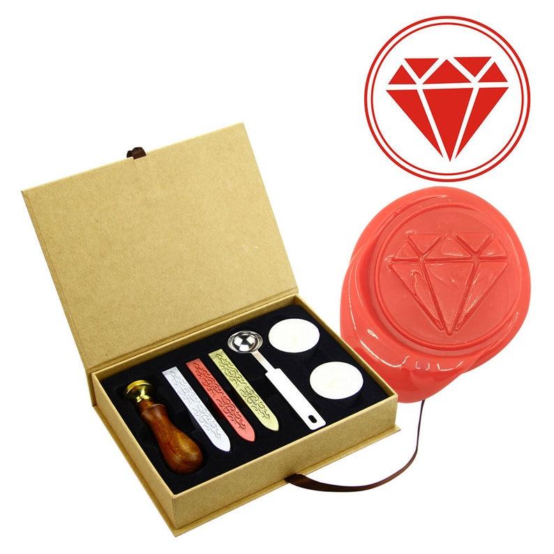 Diamond Wax Seal Stamp Diamond Sealing Wax Stamp Kit Diamond Wax Stamp Custom Initial Wedding Invitation Wax Seal Kit Personalized Wax Stamp