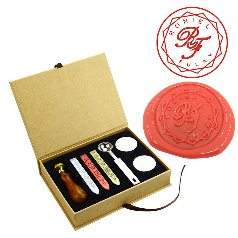 Custom Monogram Wax Seal Stamp Initial Sealing Kit Date Wedding Invitation