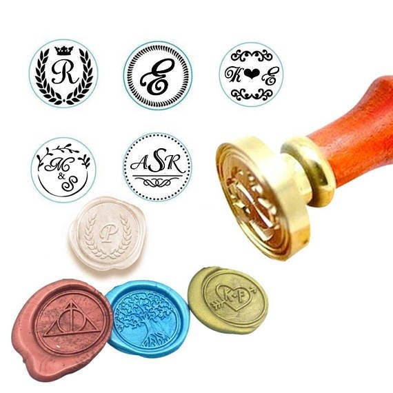 Custom Monogram Wax Seal Stamp Sealing Kit Initial Date Wedding Invitation Personalized