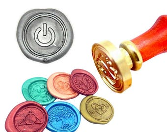 Power ON Wax Seal Stamp Power Sealing Wax Stamp Kit Power Wax Stamp Custom Initial Date Wedding Invitation Wax Seal Kit Personalized Stamp