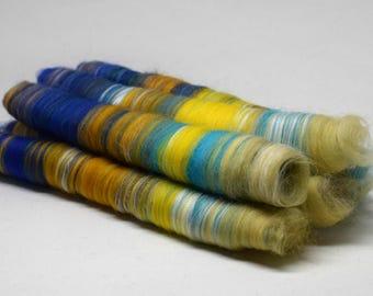 Lux skinny rolags | SUNFLOWERS | 50g | merino, superfine merino, corn fibre shetland moorit, corriedale