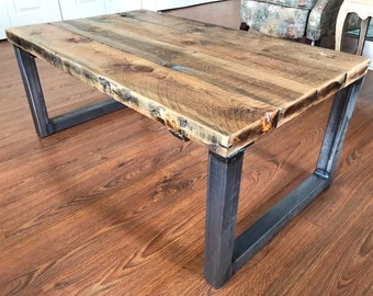 Rustic Industrial Style Reclaimed Barn Wood Table On Steel Legs