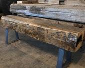 "63"" Long 110 Year Old Reclaimed Barn Beam Bench on Heavy Iron Legs"