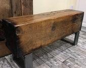 "37"" Long 110 Year Old Reclaimed Barn Beam Bench on Heavy Iron Legs"