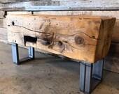 "37"" Long 110 Year Old Reclaimed Barn Beam Bench on Raw Iron Legs"