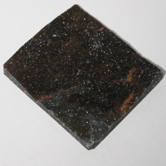 Cabochon Cabochon Cabochon en calcédoine noir pailleté, 63 x 56 x 6 mm b9e735