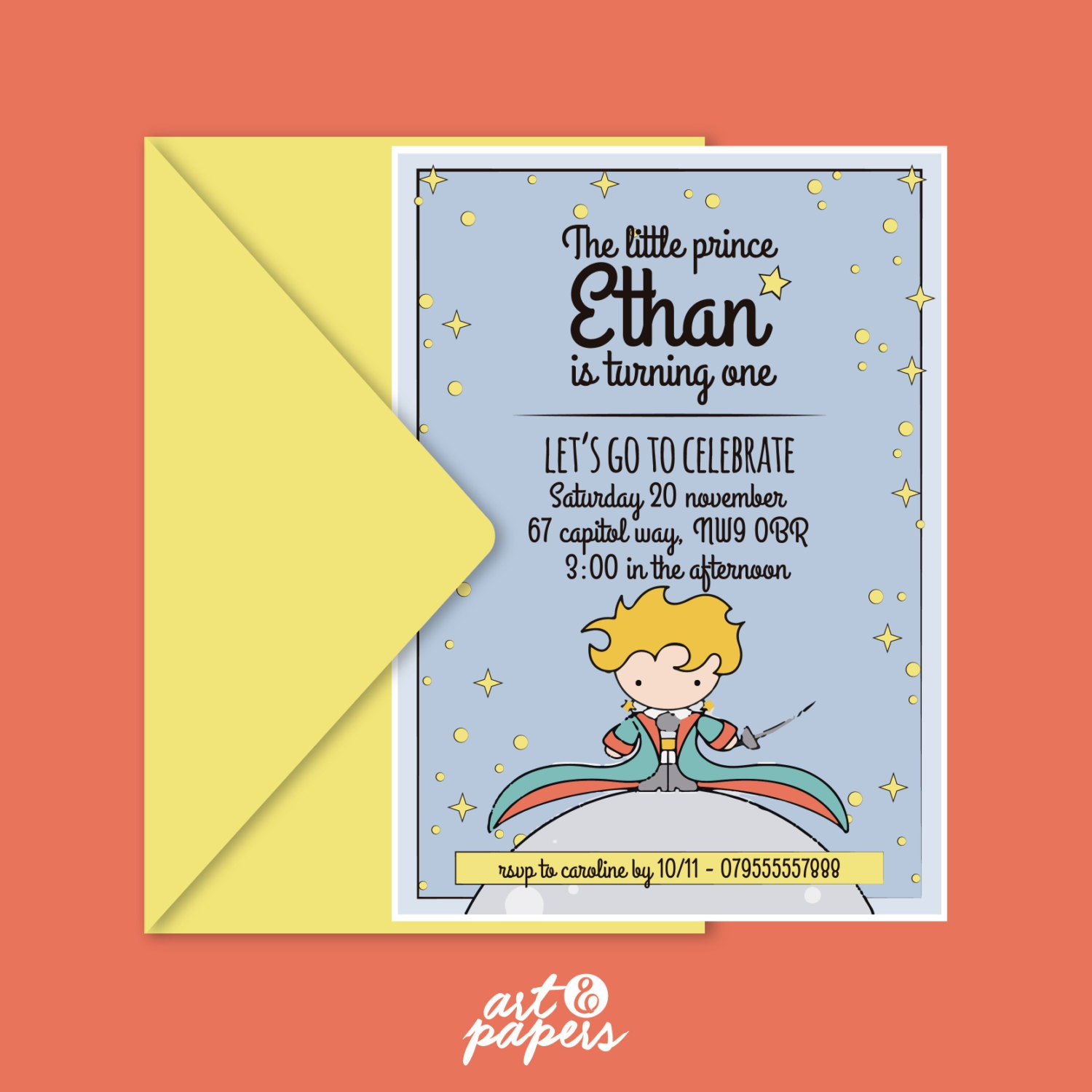 The Little Prince Printable Invitation The Little Prince Etsy