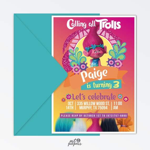 photo relating to Trolls Printable Invitations called Trolls printable invitation - Poppy invitation - Trolls occasion - Trolls invitation - Trolls Electronic Invitation - Trolls poppy - Trolls