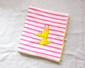 Soft and light yellow cover reversible White Jersey striped neon pink