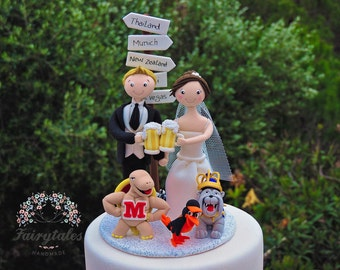 Beer Wedding Cake Topper Personalized with Mascots