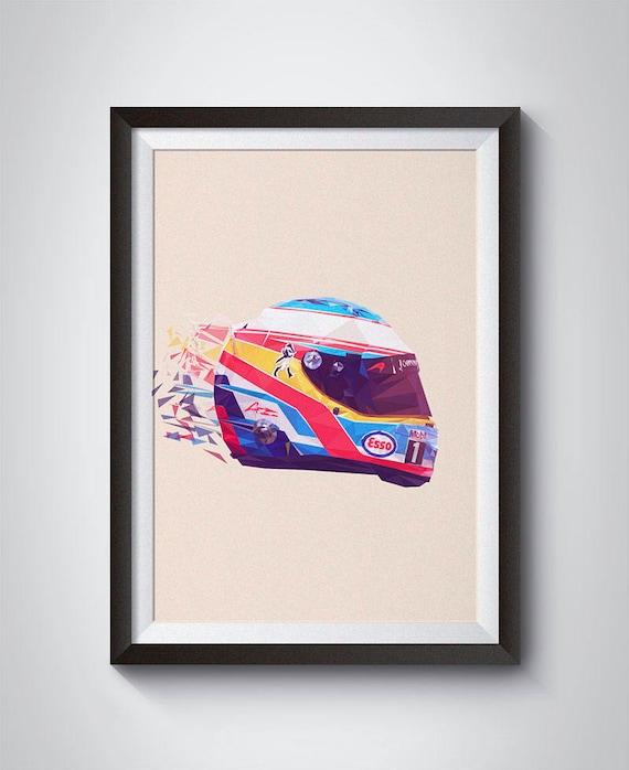 Fernando Alonso 14 F1 Race Helmet Illustration Wall Art Etsy