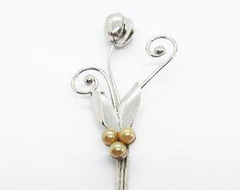 Sterling Silver 925 Vintage Designer Manrey Dangling Leaf Pin Brooch