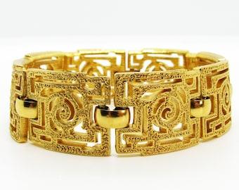 Anniversary Sale Gold Crown Trifari Greek Key Earrings