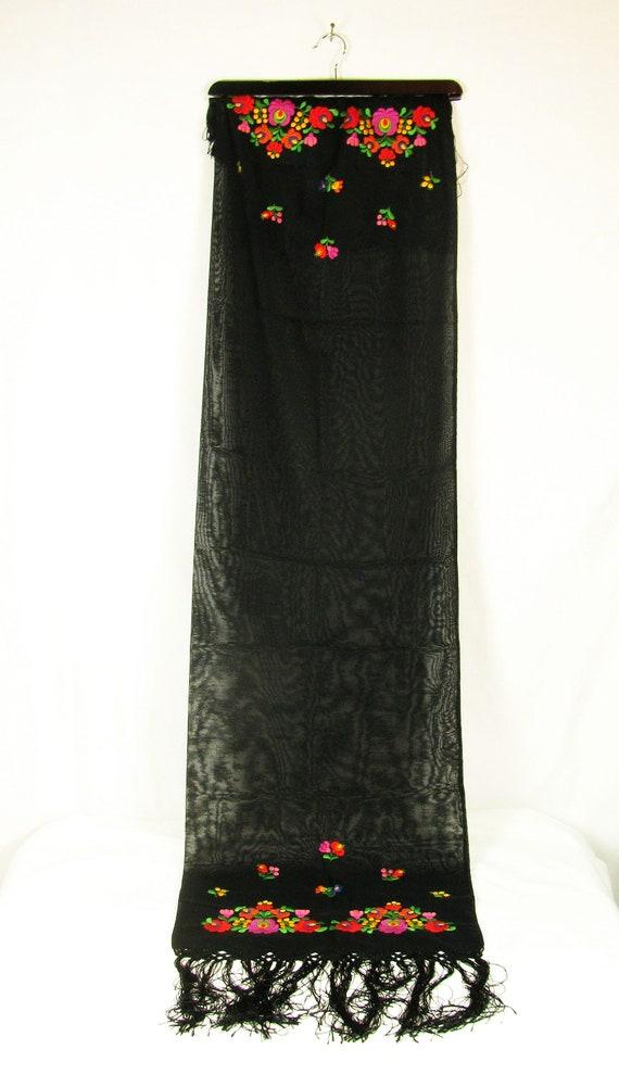 Striking Vintage Hungarian Matyo Black Fringed Sc… - image 2