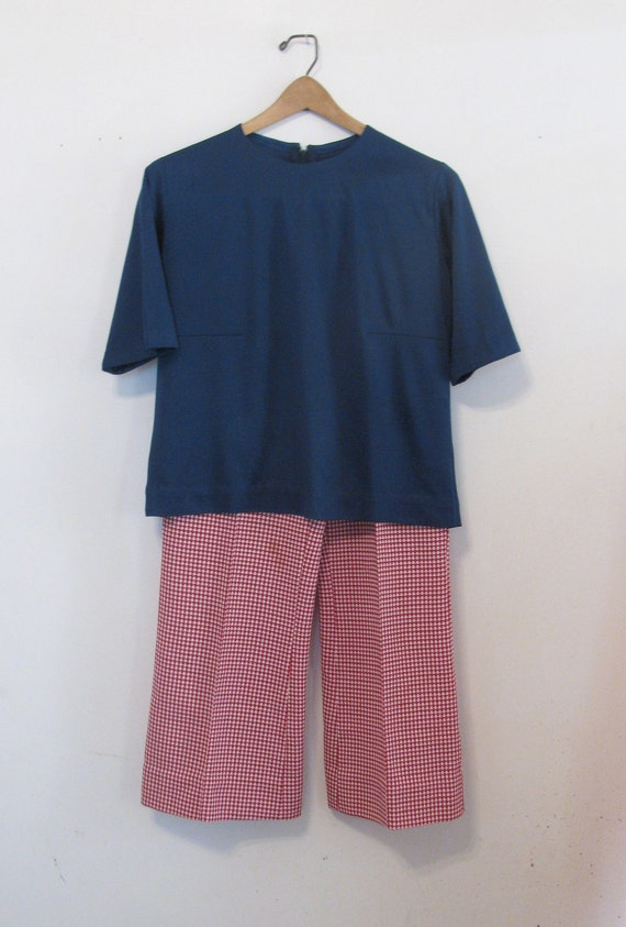 Fun Seventies Vintage Outfit - Blue Polyester Blou
