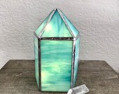 Turquoise Standing Crystal Point - Stained Glass Gemstone Suncatcher Light Lamp