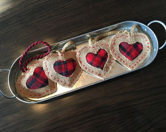 Set of 4 small hearts to suspend