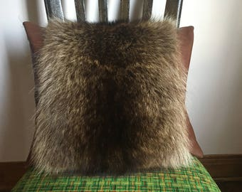 Raccoon and leather recycled raccoon fur pillow