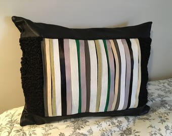 Cushion with reclycled leather and fur