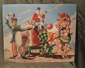 Circus Wagon with Clowns Paint by Numbers