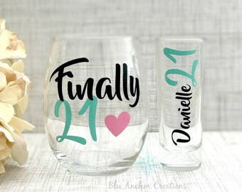 Finally 21 Wine Glass 21st Birthday Legal Gifts Gift Ideas